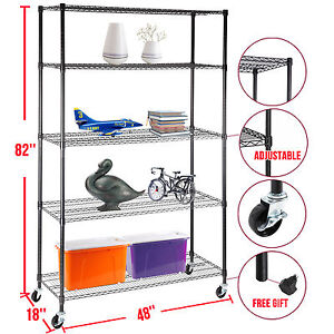 82 x48 x18 Heavy Duty 5 Tier Adjustable Layer Wire Shelving Rack Steel Shelf