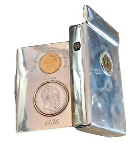 Genuine Russian Imperial Silver 84 Gold Coins Rouble Vesta Cigarette Case