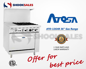 Atosa Ato 12g4b 36 Natural Gas Range 4 Open Burners And 12 Griddle