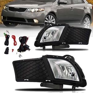 For 2010 2011 2012 2013 Kia Forte Sedan 4dr Clear Bumper Fog Lights Complete Kit