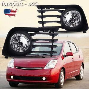 For 2004 2009 Toyota Prius Clear Bumper Fog Light Lamps Pair W Switch Wiring Kit