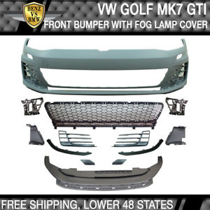 Fits 15 17 Vw Golf 7 Mk7 Gti Style Front Bumper Cover Grille Fog Cover No Pdc