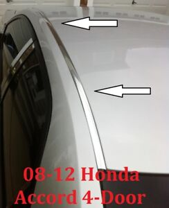 For 2008 2012 Honda Accord Chrome Roof Trim Molding Kit 4 Door Sedan