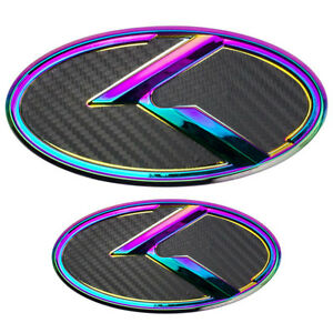 2 Large Curved Neo Chrome Over Black Carbon Fiber K Emblems Badges Pair For Kia