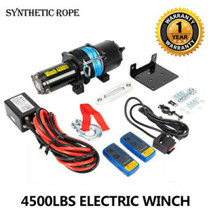 4500 Lbs Synthetic Rope Utv Atv Winch With 2 Wireless Remote