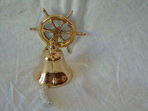 Ships Bell Brass Wheel With Rope Nautical Bar Pub Fire A Nice Gift