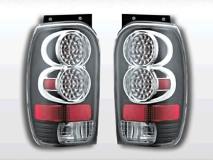 Fits 1998 2001 Ford Explorer Mountaineer L E D Look Tail Light Black With Chrome