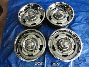 Chevy Rally Wheels Set 4 Gm 15x7 Fw Code Real Nice Camaro Nova New Caps