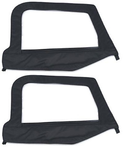 97 06 Jeep Wrangler Soft Top Front Upper Half Door Skins Black Smittybilt 89735