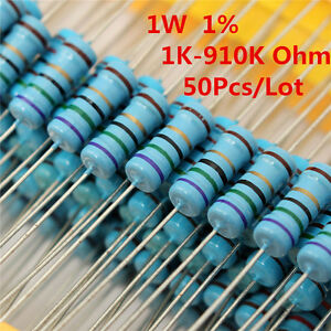 50pcs 1w 1 Watt Metal Film Resistor 1 1k 910k Ohm 1 K 910 K Free Shipping