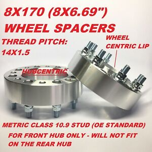2pc 8x170 Hub Centric Wheel Spacers 2 Inch 50mm Ford Superduty