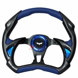 320mm Jdm Racing Sport Steering Wheel Black Carbon Blue Pvc Batman Horn Button