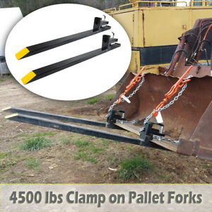60 Hd 4500 Lbs Capacity Clamp On Pallet Forks Loader Bucket Skid Steer Tractor