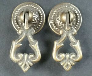 2 Small Teardrop Handles Pulls Ornate Victorian Antique Style 2 H8