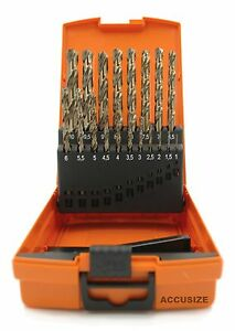 Accusizetools M35 Hss 5 Cobalt Metric Drill Set 1 To 10mm By 0 5mm In Ne
