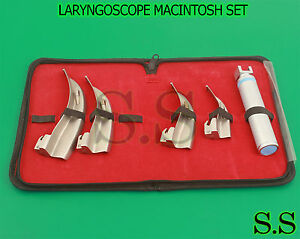 Laryngoscope Mac Intubation Set Of 4 Blades And One Handle Emt Anesthesia 3 Bulb