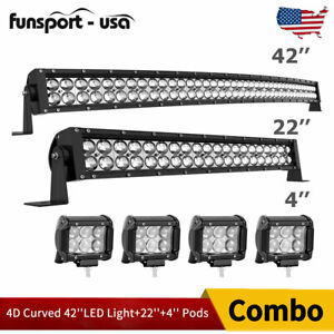 42inch Led Light Bar Curved 22in Combo 4 Pods For Ford Jeep Suv Truck Marine