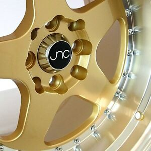 Jnc010 16x9 4x100 114 3 Et15 Gold Machined Lip Wheels Rims Fit Honda Civic Si