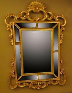 Hand Carved Wood Gold Italian Beveled Mirror