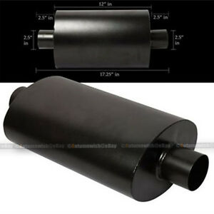 For G25 Black Tipless Weld On Muffler Exhaust Canister 2 5 In Outlet