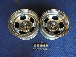 Vintage Pair 15x 8 5 Us Indy Mag Style Polished 4 3 4 4 1 2 Caps Lugs Nice
