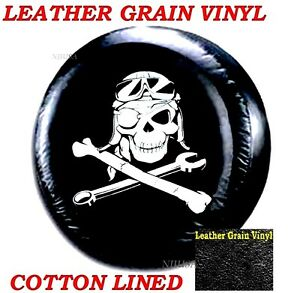 Lined Vinyl Spare Wheel Tire Soft Cover 27 Honda Crv Mechanical Pirate Skull