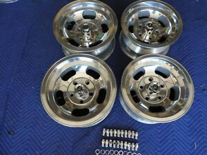 Vintage Set 15x7 14x7 Us Indy Mag Style Polished 5 On 5 Chevy Car Or Truck