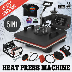 15 x15 5in1 Combo T shirt Heat Press Transfer Baseball Hat Digital Printing