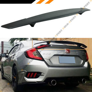 For 2016 18 Honda Civic Fc 10th Gen R Style Rear Trunk Spoiler Wing W Led Brake