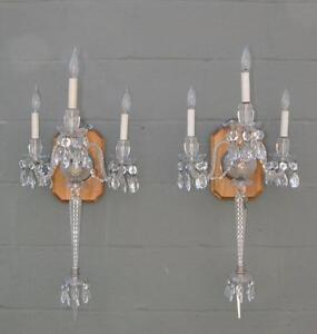 Pair Overscale Crystal And Cut Glass Three Arm Electric Wall Sconces Circa 1940