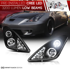 led Low Beam L r Jdm Halo Angel Eye Headlight Lamps 00 05 Toyota Celica Gt gts