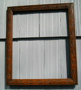 Rare Antique Eastlake Victorian Art Crafts Patterned Oak Picture Frame 14 X 17