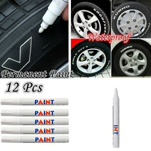 12pcs Permanent Car Motorcycle Tyre Tire Tread Marker Paint Pen White Waterproof