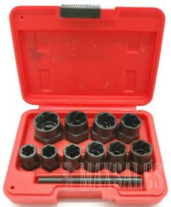 10pc 3 8 Dr Twist Socket Set 4 Damaged Worn Lug Nut And Lock Remover 10mm 19mm