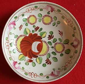 Antique King S Rose Creamware Pearlware Plate Saucer Dish Bowl Early 19th C