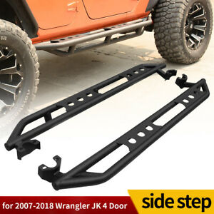 For 07 18 Jeep Wrangler Jk 4 Door Steel Side Step Armor Nerf Bars Running Boards
