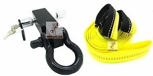 New Solid Shank Shackle D ring Receiver Hitch W 5 8 Pin 2 X 20 Strap