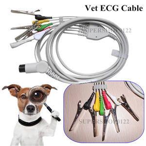 Veterinay 5 leads Ecg Cable 5 Pcs Vet Clips Contec Veterinary Patient Monitor
