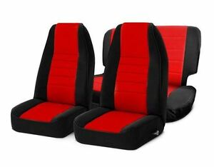 Front And Rear Neoprene Seat Covers Red For Jeep Wrangler Tj 03 06 Smittybilt