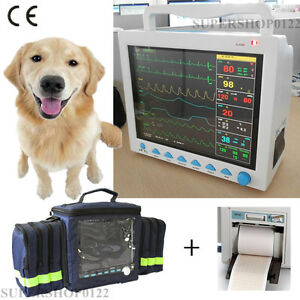 Fda Ce Contec Veterinary Patient Monitor ecg nibp spo2 pr resp temp printer bag
