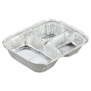 Aluminum Oblong Container With Lid 3 compartment