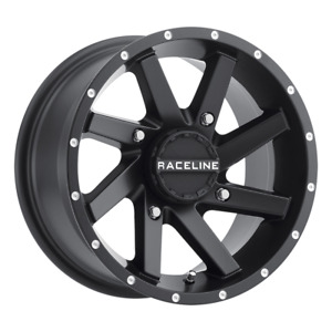 Set 4 14x7 4x1 4x156 Raceline Twist Atv Black Wheels Rims 14 Inch 46794