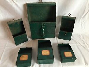 6 Vtg Country Metal Wall Pocket Hardware Storage Drawers Bins Old Crafts 68 17j