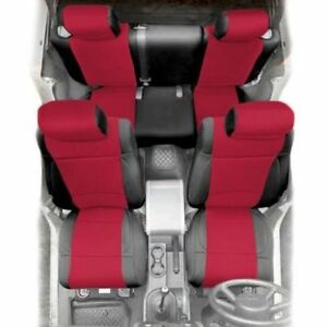 Front And Rear Neoprene Seat Covers Red For Jeep Wrangler Jk 2007 4 Door 471830