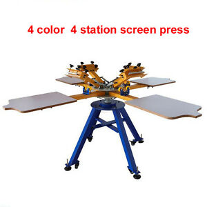 Manual 4 Color 4 Station Offset Silk Screen Printing Machine For T Shirt Printer