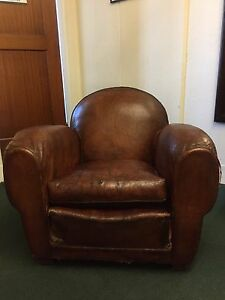 French Art Deco Early 1900 S Leather Club Chair