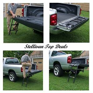 Truck Tailgate Step Ladder Pickup Universal Fit Adjustable Left Right Mount New