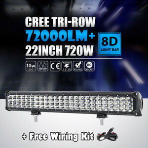 22 Inch 720w Cree Tri Row Led Light Bar Spot Flood Work Lamp Ute Atv 20 23 24