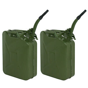 Two Green 5 Gallon 20l Jerry Can Fuel Steel Tank Military Style Storage Can
