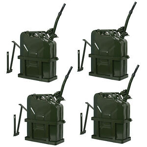 4x Jerry Can 5 Gallon 20l Fuel Army Nato Military Metal Steel Tank W Holder